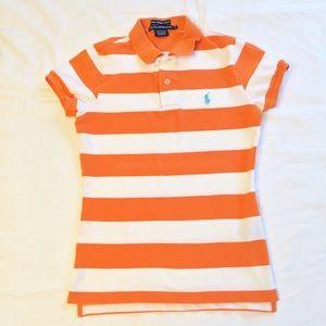 Ralph Lauren Orange White Stripe Skinny Polo SZ S